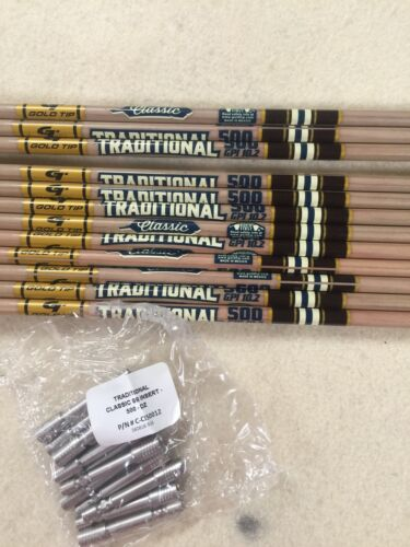 Gold Tip Traditional Classic Hunter 500 Arrows 1//2Dozen With 74gr Insert