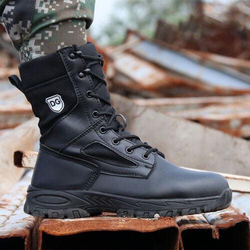 Black Leather Army Patrol Combat Boots Tactical Cadet Security Military Outdoor