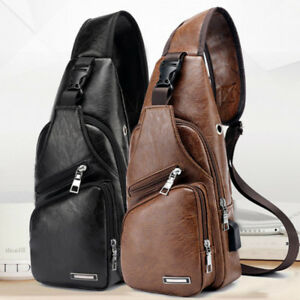 Men Sports Casual Leather Single Shoulder Bag Chest Bag Crossbody ... e571a2323486c
