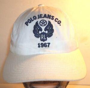 894cc95578bc6 Polo Jeans Co. RL 1967 Adjustable Baseball Hat Cap Strapback Cream ...