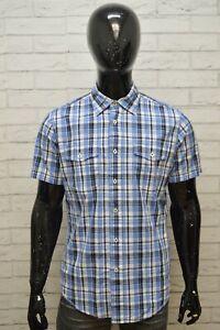 Camicia-Uomo-TOMMY-HILFIGER-Taglia-M-Maglia-Polo-Quadri-Cotone-Shirt-Blu-Hemd
