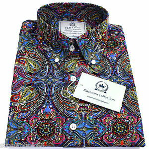 Relco-Hombre-Platinum-Multi-motivo-Cachemira-Manga-Larga-coN-Botones-Camisa-Mod