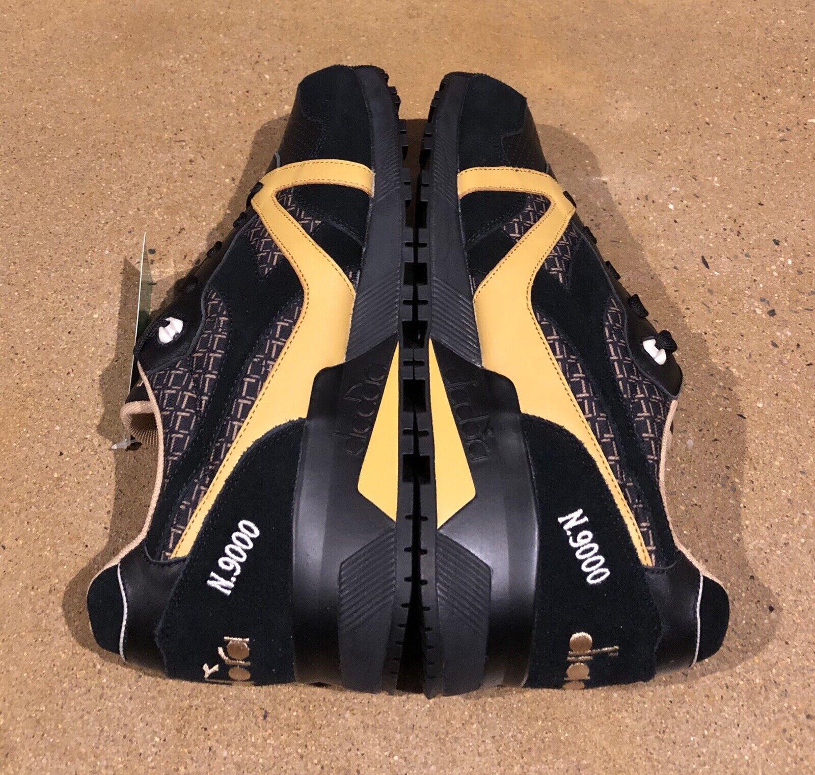 Diadora N9000 Little  oro Negro Tamaño 12 Running Zapatos TENIS DEADSTOCK