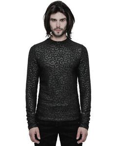 Punk-Rave-Gotico-Top-Negro-Damasco-para-hombre-manga-larga-camisetas-romantico-vampiro-De-Coleccion