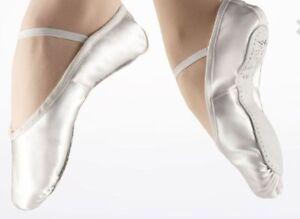 Weiß Satin Ballett Schuhe Brautjungfer Kinder Tanzschuhe kompletter Sohle