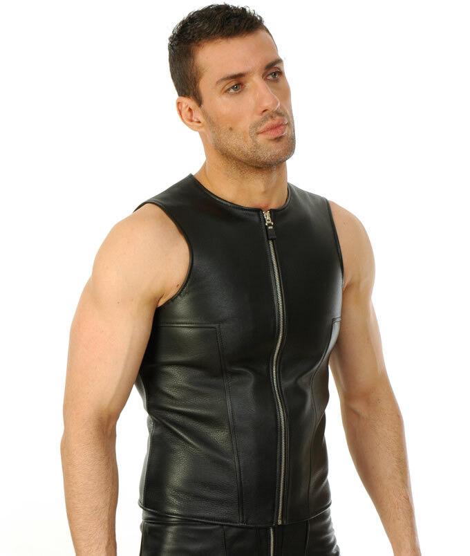 Aw-685 Gilet in in Gilet Pelle con Zip, motociclista Gilet in Pelle, Giacca di pelle, camicia in pelle 4819b0