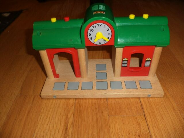 BRIO Wooden Railway Train Station Makes Train Sounds and Lights Up
