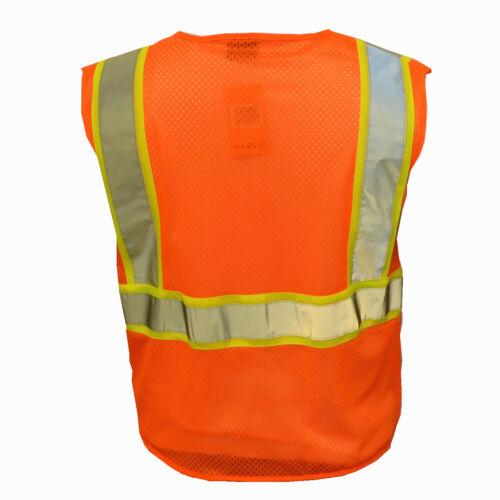 Safety Work Hi Vis ANSI Class 2 Reflective Tape Vest High Visibility W//Pockets