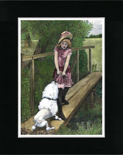 LITTLE GIRL AND WHITE POODLE ON A BRIDGE VINTAGE STYLE DOG PRINT READY MATTED