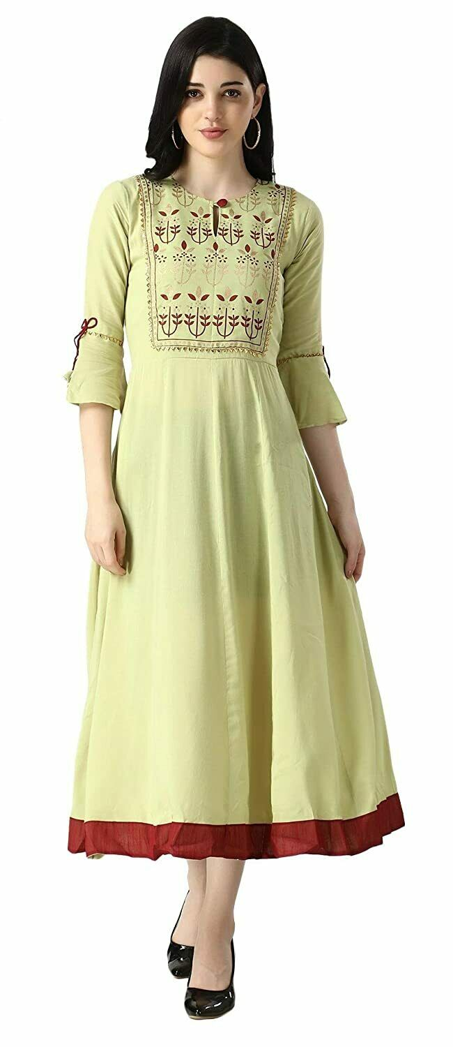Rayon Fully Stitched Anarkali Kurti for Women & Girls on Jeans Palazzo or Skirt