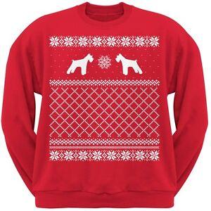 con Ugly Schnauzer di girocollo Felpa Adult Red maglioni Natale 4xTHq5qg