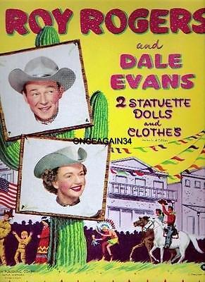 VINTAGE UNCUT 1957 ROY ROGERS /& DALE EVANS PAPER DOLLS~#1 REPRODUCTION~NOSTALGIC