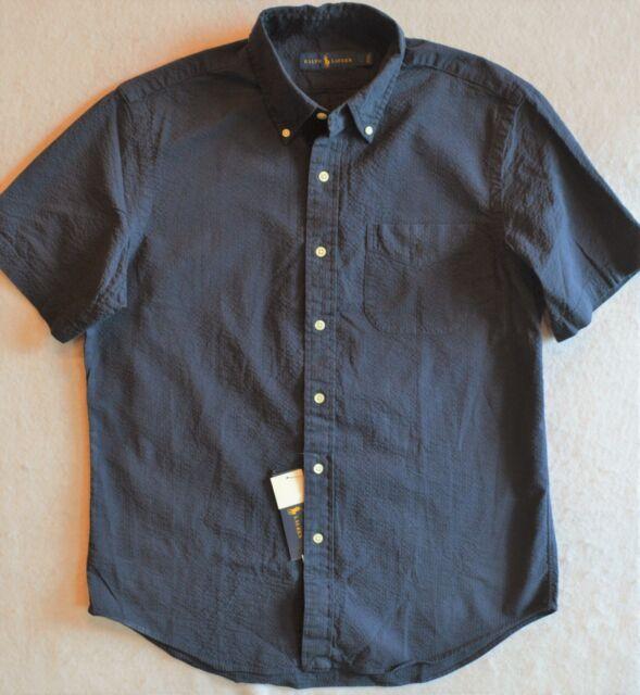 032ec1e3a Ralph Lauren Seersucker Shirt Navy Button-Front with Chest Pocket M L NWT