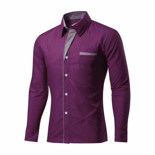 UK Men Lapel  Shirts Formal Business Casual Slim Long Sleeve Shirt Plus size HA