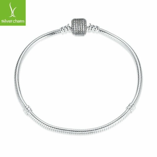 Authentic 925 Sterling Silver Charm Bracelet With Signature Lock Fit DIY Jewelry