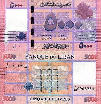 LEBANON 5000 Livres Banknote World Paper Money UNC Currency Pick p91 A//01 Prefix