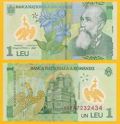 Romania 1 Leu p-117d 2008 UNC Polymer Banknote