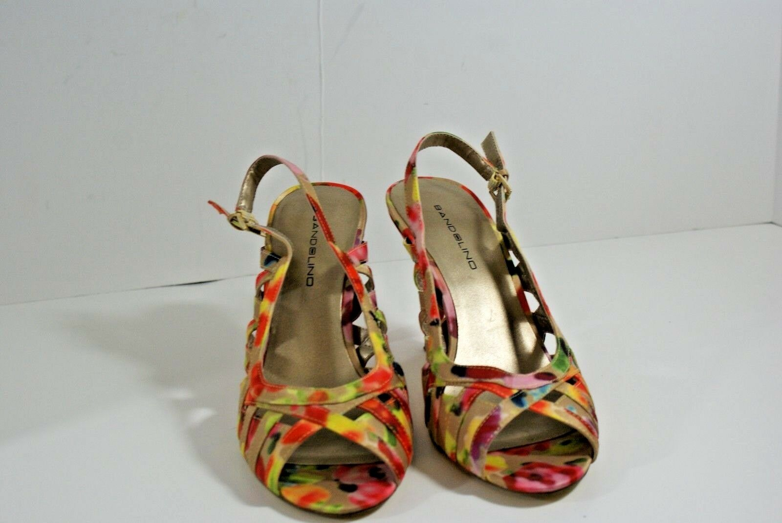 Bandolino Womens Jorkins Red 7.5 MultiColor Dress Sandals Shoes 7.5 Red M Slingback Heel c7a303