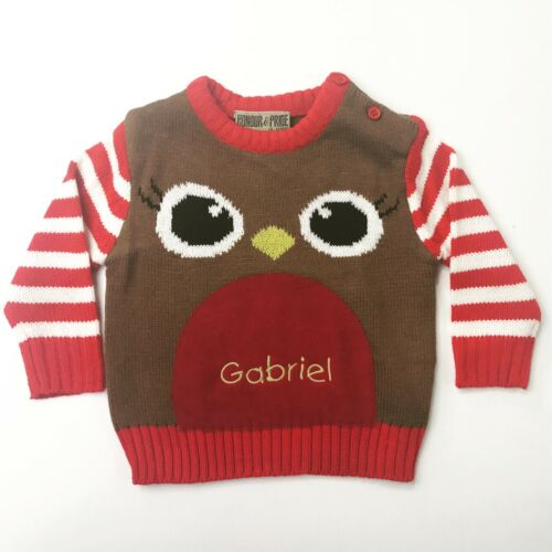 Personalised Jumper Embroidered Baby Toddler Christmas Robin Gift Xmas Top Cute