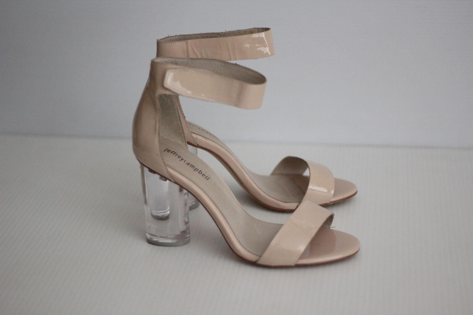 Ritorno di 10 giorni Jeffrey Campbell Alessa Clear Heel Sandal - - - Nude Patent Leather - 9 US  (Y25)  Sconto del 40%