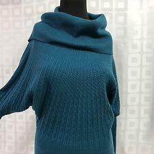 ANTONIO MELANI Merino Wool Cable Knit Sweater Sz Small Turquoise Cowl Turtleneck