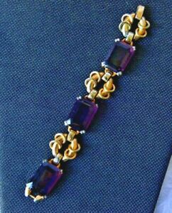 1950-039-s-Bulky-lg-Purple-Glass-rectangle-stones-amp-gold-tone-BRACELET-7-5-034