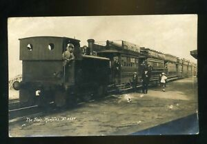 MUMBLES-Railway-Train-with-Locomotive-Carriages-with-Advert-Signs-people-RP