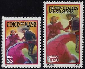 """3203 & Mexico #2066 """"Cinco De Mayo"""" Joint Issue Mint NH"""