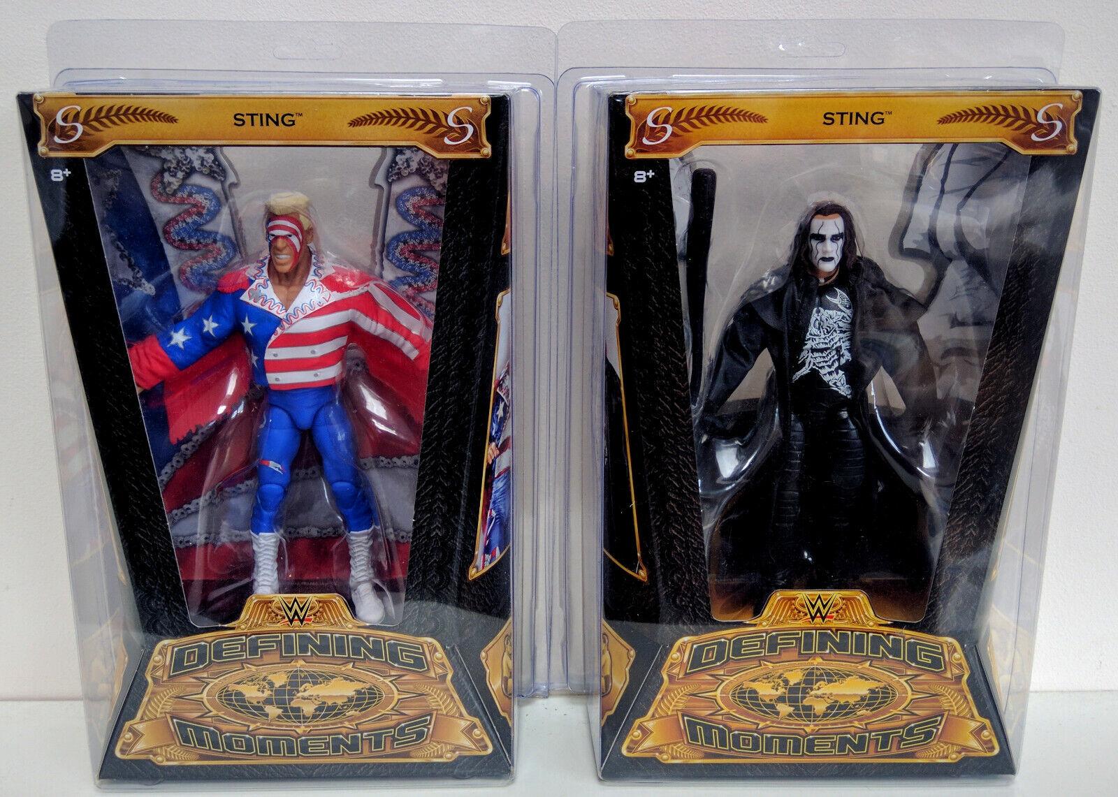 WWE Mattel Defining Moments Lot of 2 Sting Crow Surfer W  RSC Defender Case MOC