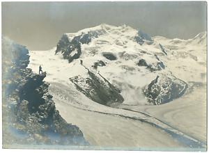 Wehrli-Italie-Mont-Rose-Monta-Rosa-vue-generale-Vintage-print-Photomeca