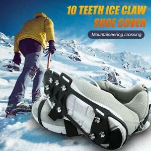 1 pair Outdoor Sport Ice Snow Gripper Shoe Cover Non-slip Crampons Ice Grip Q9W3