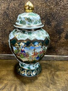 Antique-Large-Chinese-Porcelain-Ginger-Jar-Hand-Painted-Vase-w-Lid-Urn