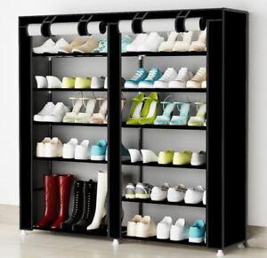 Organizador-de-tela-de-zapatos-Zapatero-resistente-polvo-7-Pisos-Color-Negro