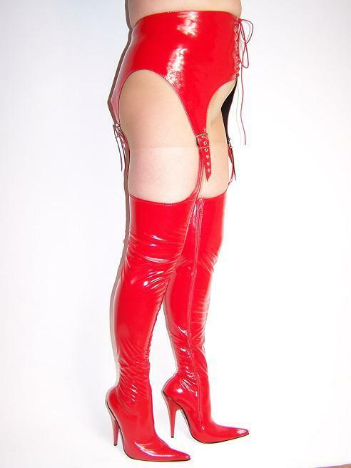 schwarz OR rot rot rot LATEX RUBBER HIGH Stiefel Größe 5-16 HEELS - 5,5'- PRODUCER POLAND c71c23