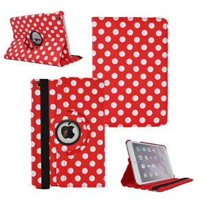 RED-Fashion-Dots-Leather-360-Rotating-Stand-Case-Cover-For-iPad-2-3-4-UK-POST