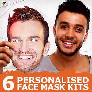 6 Personalised Photo Face Masks Party Accessory Hen Parties Stag Birthdays New