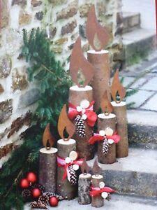 Edelrost-Flamme-fuer-Baumstamm-zur-Wahl-Kerze-Weihnachten-Advent-Licht-Dekoration