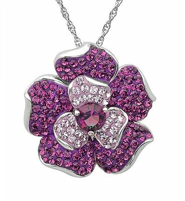 Sterling Silver Purple Fade Flower Pendant-Necklace made with Swarovski Crystals