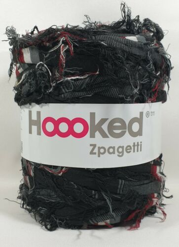 rojo Hoooked /'zpagetti sustancia Garn Fuzzy negro blanco tonos de gris/' nuevo 681