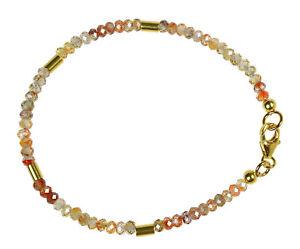 ZIRKON-BRAUN-NATUR-Armband-925-Silber-vergoldet-Armkette-Z384