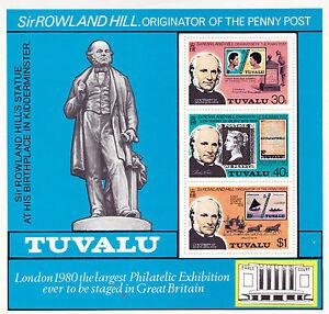 TUVALU Sir ROWLAND HILL CENTENARY MULTI VALUE SOUVENIR SHEET MNH