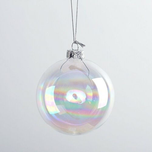 Rainbow Iridescent Clear Glass Ball Fillable Christmas Baubles Hanging Ornaments