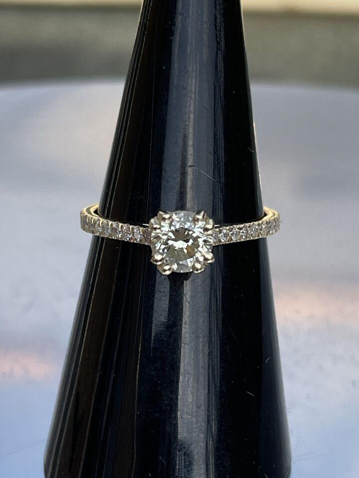 Ny 1.25 Ct Pave Double Claw Round Cut Diamond E...