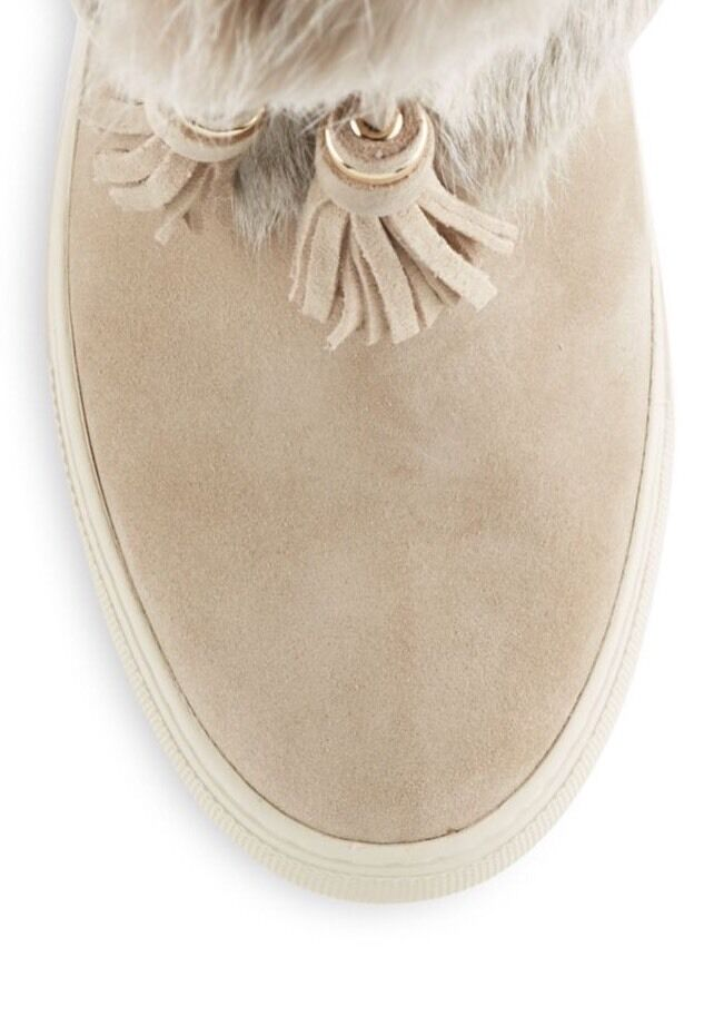 Tory Burch foncé nœud beige Angelica Angelica Angelica botte de fourrure de lapin Split Daim Baskets Neuf 3d9c98
