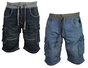 Mens-New-Kam-Cargo-Combat-Denim-Shorts-Stretch-Big-Plus-Size-Elasticated-Waist