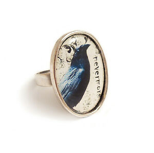 The-Raven-NEVERMORE-gothic-ring-silver-adjustable-Edgar-Allan-Poe-goth-steampunk