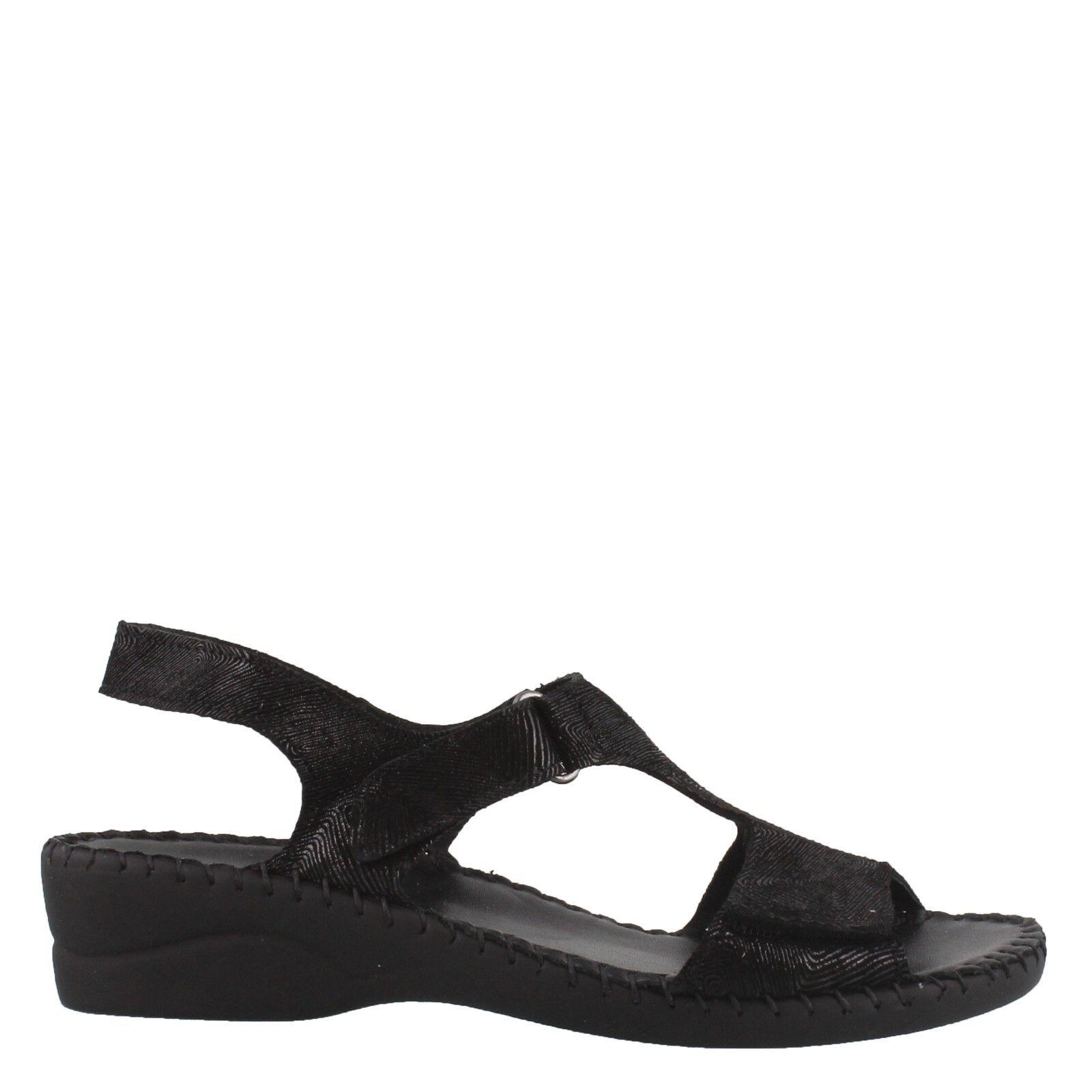 La Plume Expo Women's Black print Leather wedge sandal adjustable Straps size 39