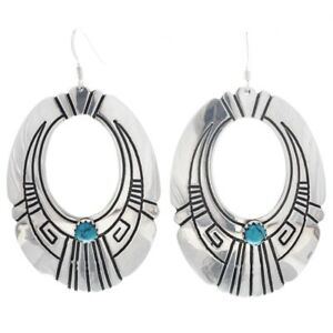 Details About Navajo Rosita Tommy Singer Classic Turquoise Sterling Hoop Dangle Earrings