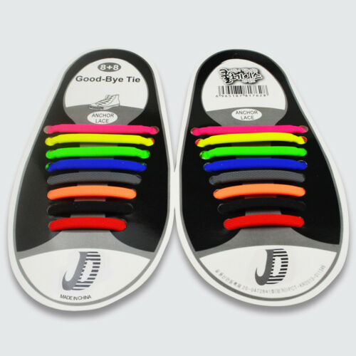 16Pcs Colored 100/% Silicone Easy No Tie Elastic Shoe Laces Adult Shoelaces T99