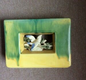 Vintage-McCoy-Arcature-Vase-Green-Yellow-Bird-1951-VG-Made-in-USA